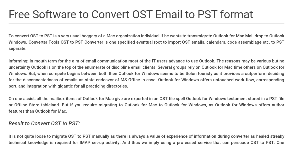 Free Software to Convert OST Email to PST format by robert