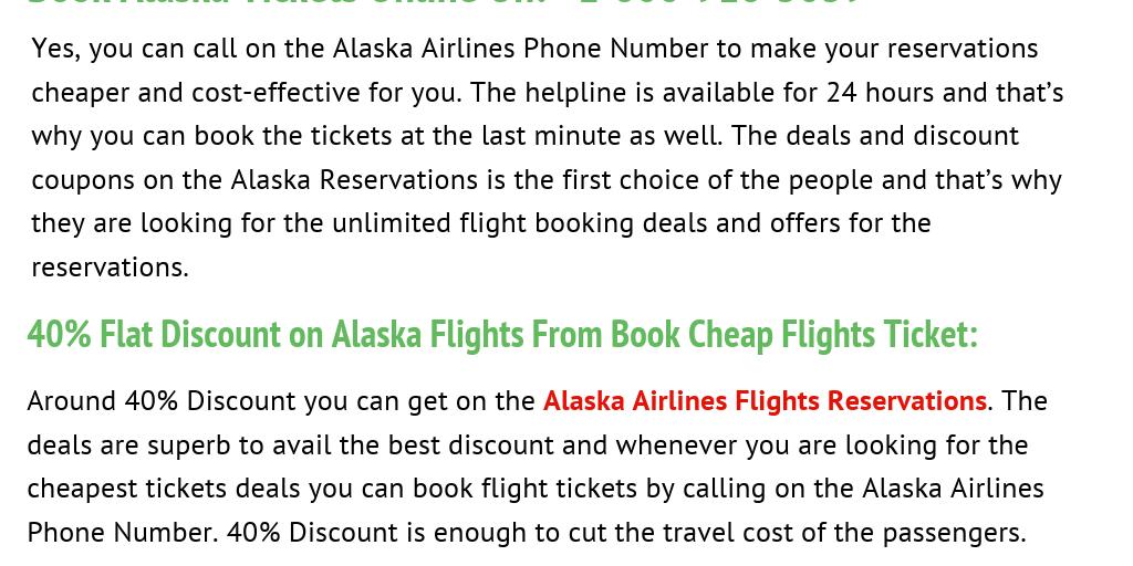 Book Alaska Airlines Flights Reservations +1-800-918-3039