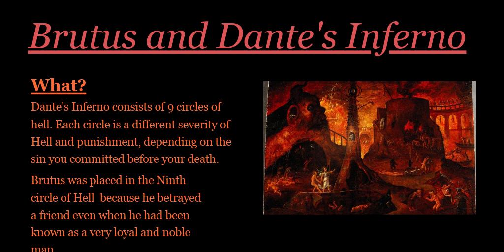 Brutus And Dante S Inferno By Andrea Guevara Molina Infogram