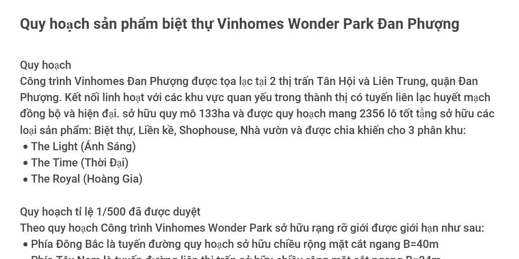 Thông tin biệt thự Vinhomes Đan Phượng by Vinhomes Wonder Park Vinhomes Đan Phượng - Infogram